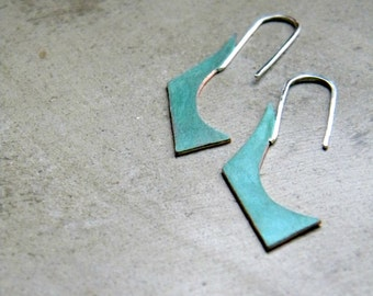 Verdigris Geometric Earrings - handmade brass sterling silver minimal, geometric, blue green, made in Italy