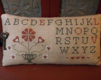 "Completed Cross Stitch ""Count The Hearts"" Sampler Pinkeep, Primitive Folk Art Pincushion, Valentine Gift"