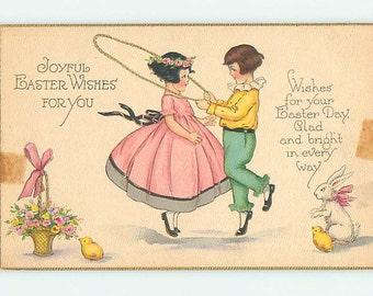 Easter vintage postcard, Easter postcard- Cute kids darling Easter bunny vintage Easter postcard, chicks