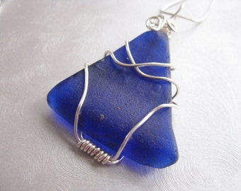 Sea Glass Necklace - Statement Pendant  - Cobalt Blue Sea Glass - Wire Wrapped - Beach Glass Jewelry