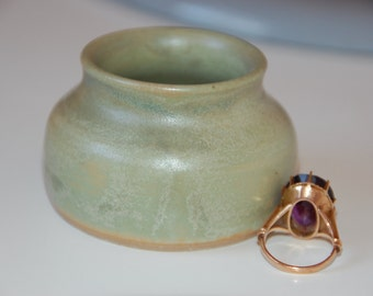 Ring Keeper Dish Mini Jar for Rings and Things in Jade Green