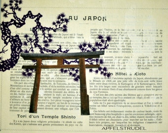 COLLAGE ARTWORK / Glass framed. Shinto Tori / Purple / Japan. Recycled Art using vintage materials.