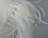 Detachable Ivory Beaded Lace Straps With Ostrich Feathers to Add to your Wedding Dress it Can be Customize