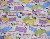 Hello kitty Fabric Kitty and Roses  50 cm by 53  cm or 19.6 by 21  inches Fat Quarter