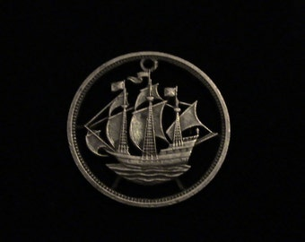 GREAT BRITAIN - 1964 - cut coin pendant w/ sailing ship - BEAUTIFUL