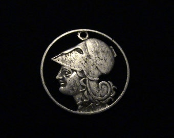 1926 Greece - cut coin pendant - w/ Athena, Greek Goddess of Wisdom and War