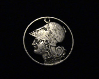 1926 Greece - cut coin pendant - w/ Athena, Greek Goddess of Wisdom and War