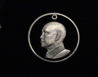 TAIWAN - cut coin pendant - Chiang Kai-shek - 1989