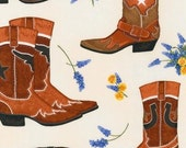 Two (2) Yards- Greetings from Texas Boot fabric Robert Kaufman Fabrics AMK-14257-275 LEATHER
