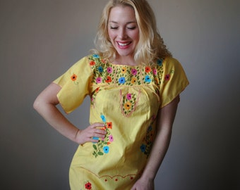 1970s Sunny Mexican Oaxacan Dress~Size Extra Small