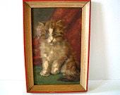 Vintage Embossed 3D Kitten Picture