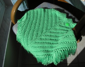 Knitted Poncho, Girls Large - Lime Green