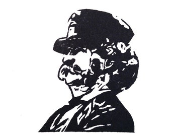 Mark Twain Rubber Stamp - Hand Carved