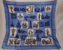 PARIS FRANCE SILK Scarf Momuments People Street Scenes blue black and white 32 x 30 in mint condition