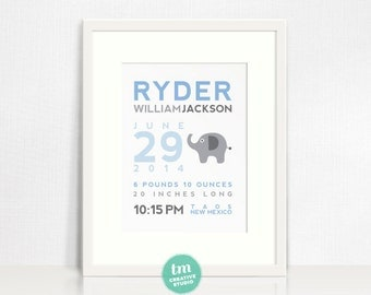 Custom Birth Announcement Print - Elephant Wall Art