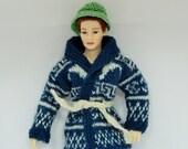 Dollhouse Miniature Hand Stitched Fair Isle Man's Cardigan