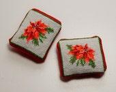 Dollhouse Miniature Poinsettia Christmas Throw Pillows Hand Stitched