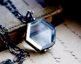Glass Locket, Locket Necklace, Photo Locket, Hexagon Locket, Sterling Sliver, Geometric Locket, Steampunk Jewelry, Fine Jewelry, Keepsake