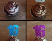 12 Sixteenth Birthday Cupcake Toppers Sixteen Cupcake Toppers Donut Toppers Party Picks Sixteen Year Old Cupcake Toppers