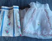 2 vintage half aprons ruffly sheer white pink floral & print fabric on off white sheer