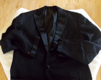 Vintage 60s black wool tuxedo jacket blazer satin trim