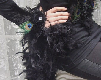 Black Feather Peacock Costume WRIST CUFFS