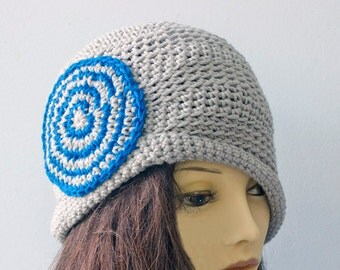 SALE, 1920's  Flapper Hat, Crochet Cloche Hat,  Womans Hat, Gray and Blue Hat, Ready to Ship