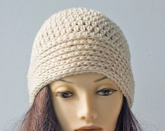 SALE, Off White Crochet Hat,  Winter Cloche, Woman's Warm Vegan Hat, Ready to Ship