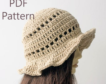 Sun Hat Crochet Pattern, Autumn Hat,  Instant Download, Beach Hat PDF Pattern, Crochet Hat Pattern, Summer Brimmed Hat Pattern