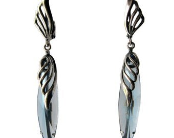 Vintage Russian Blue Glass Earrings Silver Plated