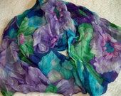 Vintage Floral Print Long Scarf with Gold Metallic Threads Purple Green Blue Pink Shades