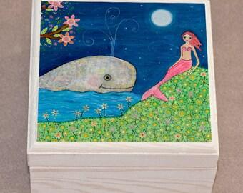 Mermaid Jewelry Box, Mermaid Trinket Box, Mermaid and Whale Jewelry Box, Mermaid Gift