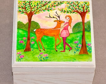 Deer Friend Jewelry Box, Wooden Jewelry Box, Trinket box
