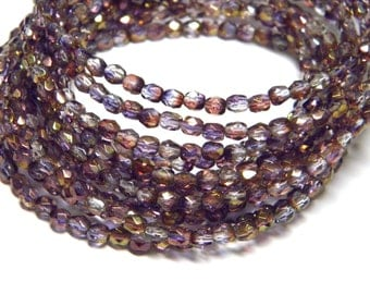 Sale! - 4mm Faceted Amethyst Luster Fire Polished Round Beads(30)