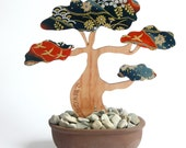 Bonsai Tree - Laser Cut Tasmanian Myrtle Wood Timber and Japanese Chiyogami Yuzen Paper Pot Plant Sculpture Art Home Decor