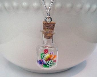 Food Jewelry - Ribbon Candy Jar Necklace