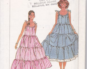 OOP New 1987 Vintage Simplicity pattern 8969 Misses Tiered Dress for Sizes Medium 14-16