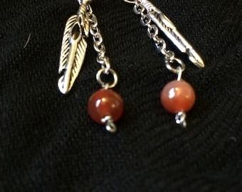 Carnelian, feather dangle earrings