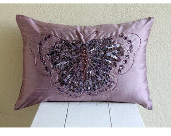 Decorative Oblong / Lumbar Rectangle Throw Pillow Covers Accent Pillow Couch 12x16 Silk Pillow Case Bead Embroidered Purple Glitter Wings