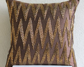"""Handmade Brown Pillows Cover, 16""""x16"""" Silk Pillows Cover, Square  3D Beaded Zigzag Sparkly Glitter Pillows Cover - Gold Zig Zag"""