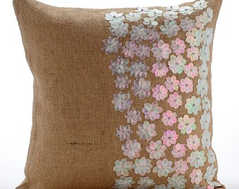 Decorative Throw Pillow Cover Accent Toss Pillow Euro Sham 26x26 Natural Gold Lurex Burlap Pillow Cover Sequin Embroidered Dreamland Flowers