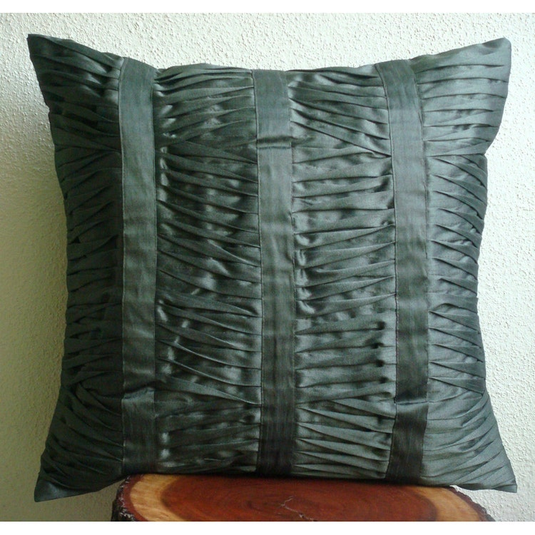 Luxury Silk Throw Pillows : Luxury Dark Grey Throw Pillows Cover 16x16 Silk by TheHomeCentric