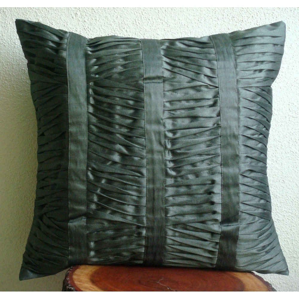 Dark Gray Decorative Pillow : Luxury Dark Grey Throw Pillows Cover 16x16 Silk