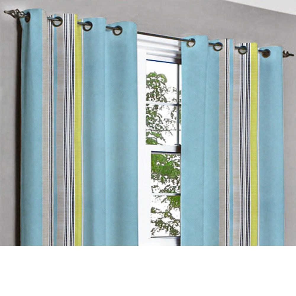 stripe light blue yellow grommet blackout lined curtain in. Black Bedroom Furniture Sets. Home Design Ideas