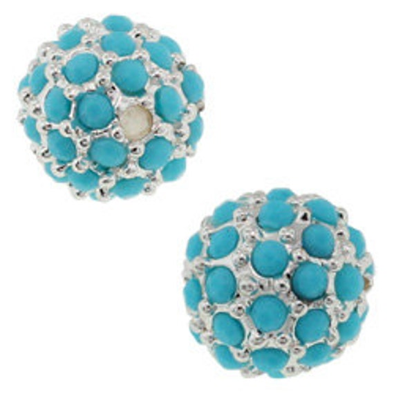 10mm pave crystal bead, Silver with Turquoise Crystals (1)