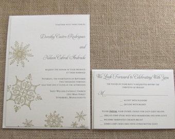 Gold Winter Wonderland Wedding Invitations, Snowflake Wedding Invites, Deposit Listing