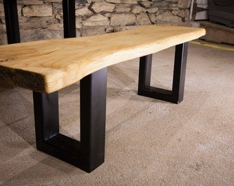 The Mill - Live Edge Slab Bench With Industrial Base