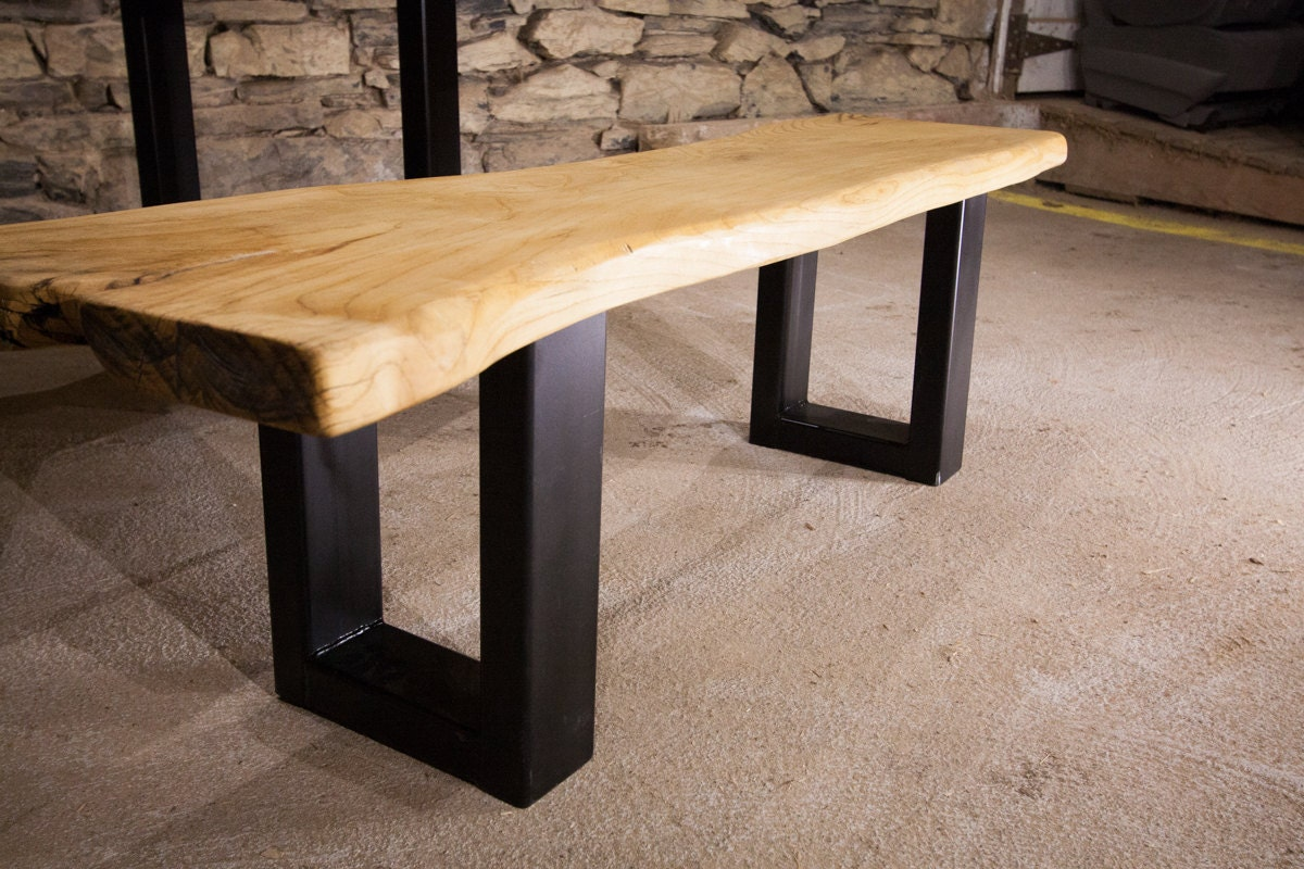 The Mill Live Edge Slab Bench With Industrial Base