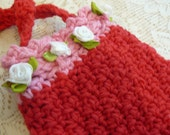 Valentine Gift, Children's Purse, Child's Handbag, Red Crocheted Purse, Red Drawstring Handbag, Accessories, Girls Purse, Gift for Her