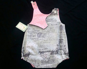 Clothing For Girls, Girls Romper, Eiffel Tower, Girls Birthday Romper, Girls Spring Clothing, Groovy Gurlz, Girls Easter Outfit, Reversible